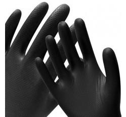 obrázek Rukavice nitrilové, černé, protiskluzové, extra přilnavé