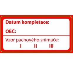 obrázek Štítek samolepicí na pachovou konzervu, červený, Kompletace, 6x3 cm